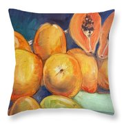 Market Papayas Throw Pillow