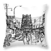 Market Place - Urban Life Outside Temple India Throw Pillow