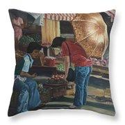 Market Scene Divisoria Throw Pillow