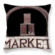 Market Sign Against Black Throw Pillow