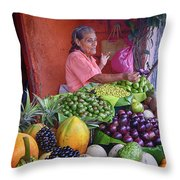 market stall in Nicaragua Throw Pillow
