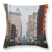 Market Street Philadelphia - In The Morning Throw Pillow