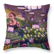 Market Veggie Vendor Throw Pillow