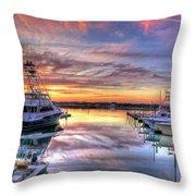 Marlin Quay Marina At Sunset Throw Pillow