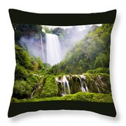 Marmore Waterfalls Italy Throw Pillow