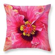 Maron's Hibiscus Throw Pillow