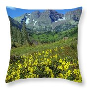 210403-v-maroon Bells And Sunflowers  Throw Pillow