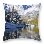 Maroon Lake And Bells 2 Throw Pillow