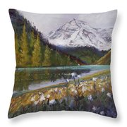 Maroon Lake Throw Pillow