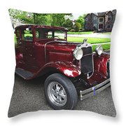 Maroon Vintage Car Throw Pillow
