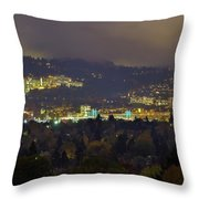 Marquam Hill And Portland Bridges At Night Throw Pillow