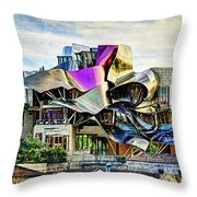 marques de riscal Hotel at sunset - frank gehry - vintage version Throw Pillow