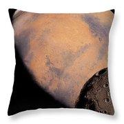 Mars And Phobos Throw Pillow
