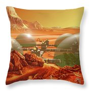 Mars Colony Throw Pillow by Don Dixon