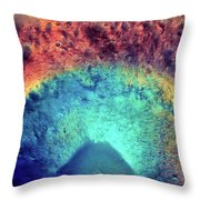 Mars Crater Surface Colorful Painting Throw Pillow