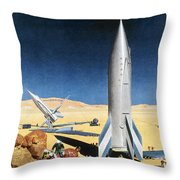 Mars Mission, 1950s Throw Pillow