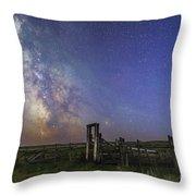Mars, Saturn & Milky Way Over Ranch Throw Pillow