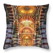 Marseille, France, Inside Of Notre-dame De La Garde Catholic Basilica Throw Pillow