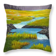 Marsh River Original Painting Throw Pillow