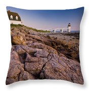 Marshal Point Light Sunset Throw Pillow by Susan Cole Kelly
