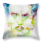 Marshall Mcluhan - Watercolor Portrait Throw Pillow