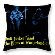 Marshall Tucker Winterland 1975 #18 Enhanced In Blue With Text Throw Pillow