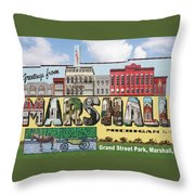 Marshall Vintage Postcard Throw Pillow