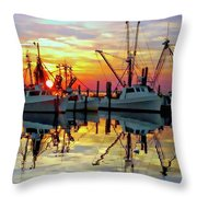 Marshallberg Harbor Sunset Throw Pillow