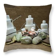Marshmallow Family Making S'mores Over Campfire Throw Pillow