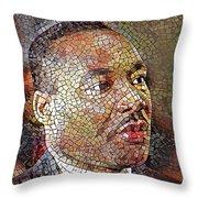 Martin Luther King Portrait Mosaic 1 Throw Pillow
