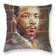 Martin Luther King Portrait Mosaic 2 Throw Pillow