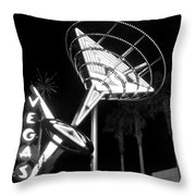 Martini Sign In Vegas B-w Throw Pillow
