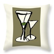Martini With Green Background Throw Pillow