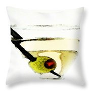 Martini With Green Olive Throw Pillow