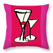 Martini With Pink Background Throw Pillow