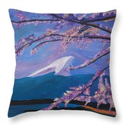 Marvellous Mount Fuji With Cherry Blossom In Japan Throw Pillow