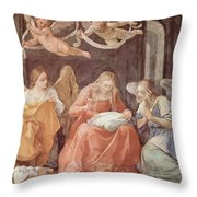 Mary And Angels 1611 Throw Pillow