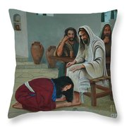 Mary Anoints The Feet Of Jesus Throw Pillow