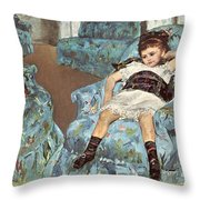 Mary Cassatt-little Girl In A Blue Armchair1878 Po Amp 059 Mary Cassatt Throw Pillow