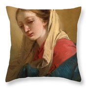 Mary Magdalene In Three-quarter View Veiled In A White Cloth Throw Pillow