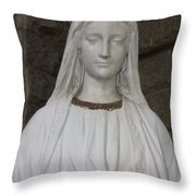 Mary Statue At Sacred Heart In Tampa Throw Pillow