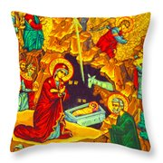 Mary Well Nativity Throw Pillow