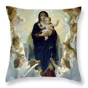 Mary With Angels Throw Pillow