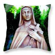 Mary With Cross Throw Pillow