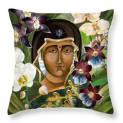 Mary With Orchids Throw Pillow