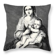 Mary With The Child Jesus Throw Pillow
