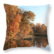 Maryland Autumns - Clopper Lake - Kingfisher Overlook Throw Pillow