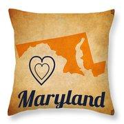 Maryland Vintage Throw Pillow
