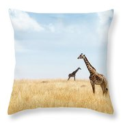 Masai Giraffe In Kenya Plains Throw Pillow