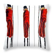 Masai Warrior Triptych - Original Artwork Throw Pillow